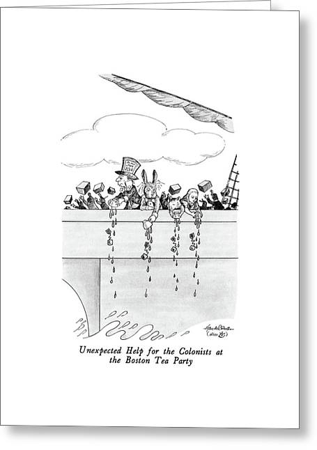 Unexpected Help For The Colonists At The Boston Greeting Card by J.B. Handelsman