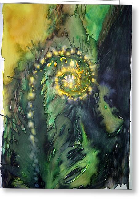 Unfurling Fern Of Light Greeting Card by Tara Thelen