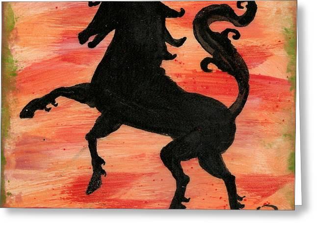 Unicorn At Play Greeting Card by Gail Schmiedlin