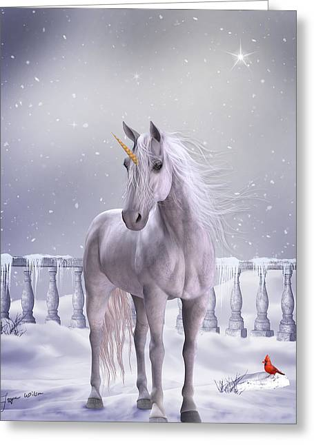 Greeting Card featuring the digital art Unicorn In The Snow by Jayne Wilson