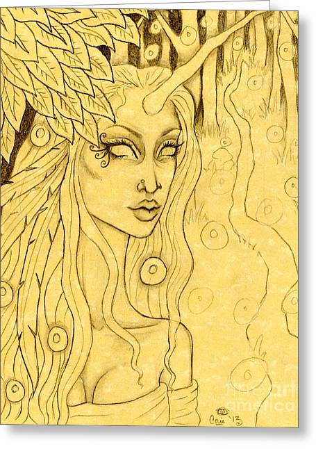 Unicorn In The Woods Sketch Greeting Card by Coriander  Shea
