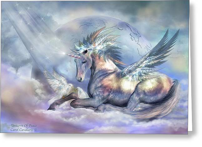 Unicorn Of Peace Greeting Card by Carol Cavalaris