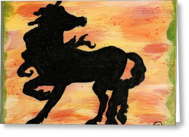 Unicorn On Watch Greeting Card by Gail Schmiedlin
