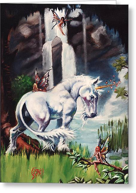 Unicorn Spring Greeting Card by T Ezell