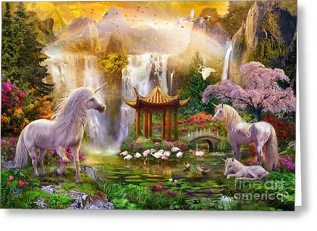 Unicorn Valley Of The Waterfalls Greeting Card by Jan Patrik Krasny