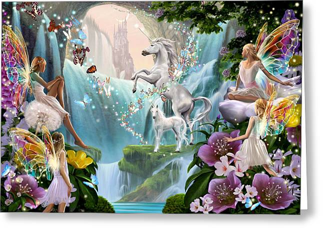Unicorn And Fairy Waterfall Greeting Card