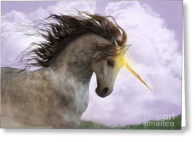 Unicorn With Magic Horn Greeting Card
