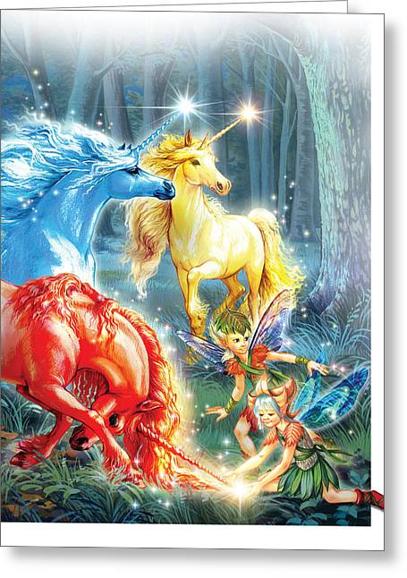 Unicorns And Fairies Greeting Card by Zorina Baldescu