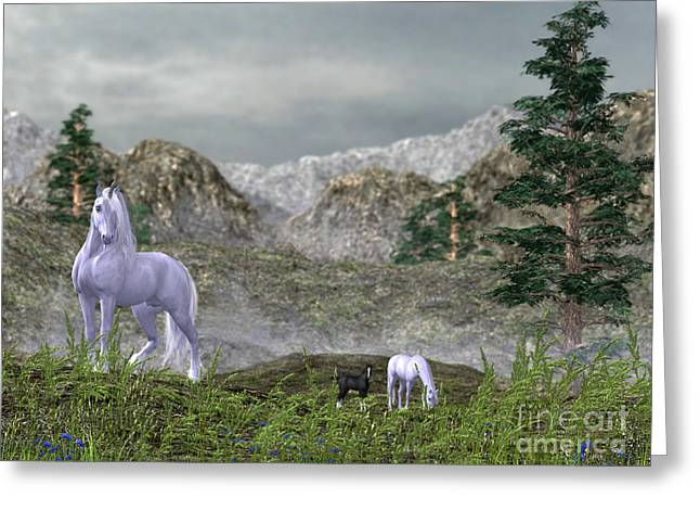 Unicorns In The Mountains Greeting Card