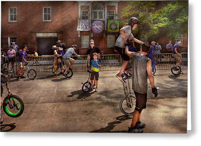 Unicyclist - Unicycle Training Camp Greeting Card