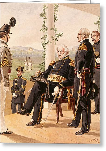 Uniforms Of The American Army, 1858-61, Published By G.h. Buek And Company, 1885 Colour Litho Greeting Card