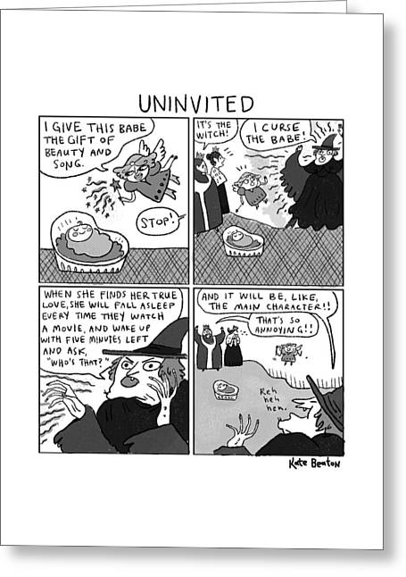 Uninvited -- A 4-panel Cartoon Of A Sleeping Greeting Card