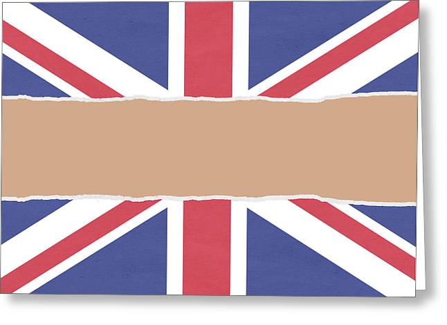 Union Flag Wrapping Paper Torn Through The Centre Greeting Card by Steve Ball