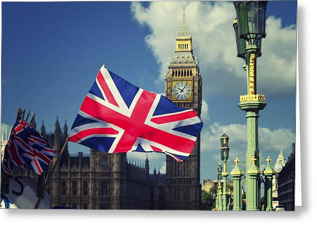 Union Jack Flag Greeting Card by Joseph S Giacalone