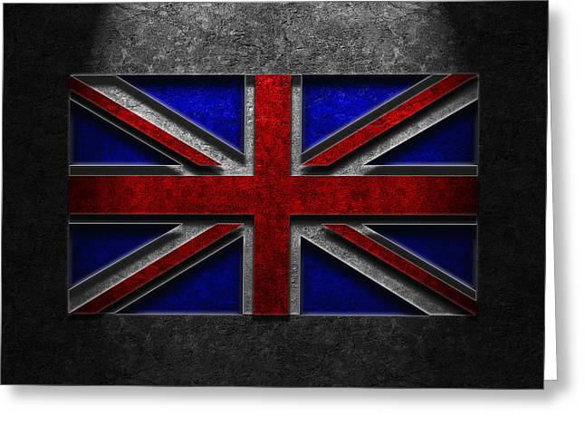 Greeting Card featuring the digital art Union Jack Stone Texture by The Learning Curve Photography