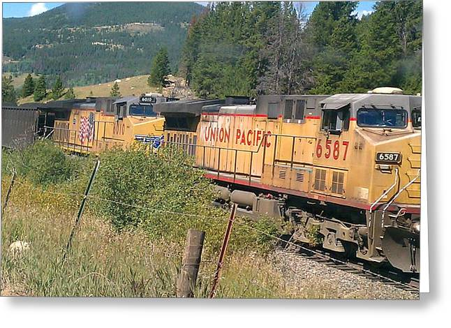 Greeting Card featuring the photograph Union Pacific 6587 by Fortunate Findings Shirley Dickerson