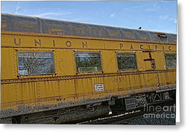 Union Pacific Greeting Card by Peggy Hughes