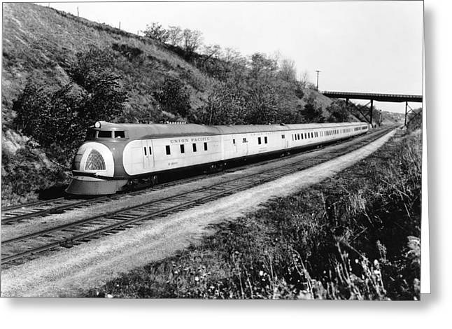 Union Pacific's Streamliner Greeting Card by Underwood Archives