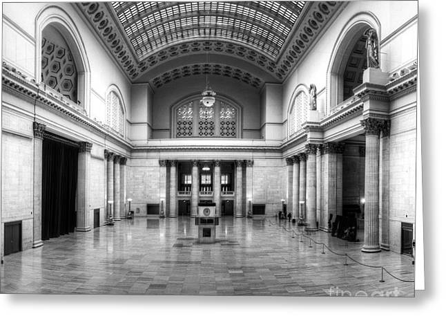 Union Station In Black And White Greeting Card by Twenty Two North Photography