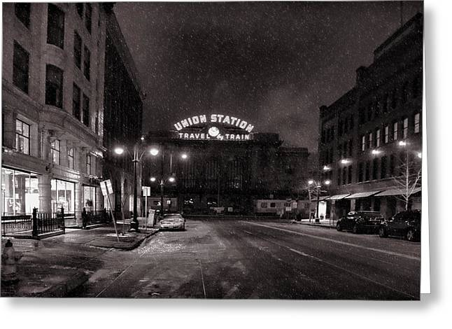 Union Station In The Snow Greeting Card by Ken Smith