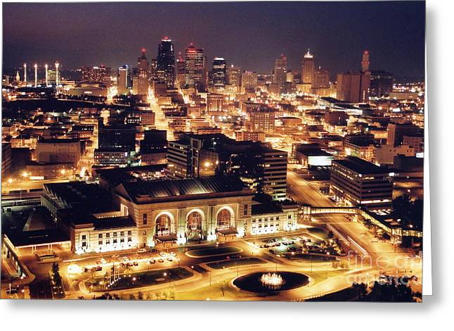 Union Station Night Greeting Card by Crystal Nederman