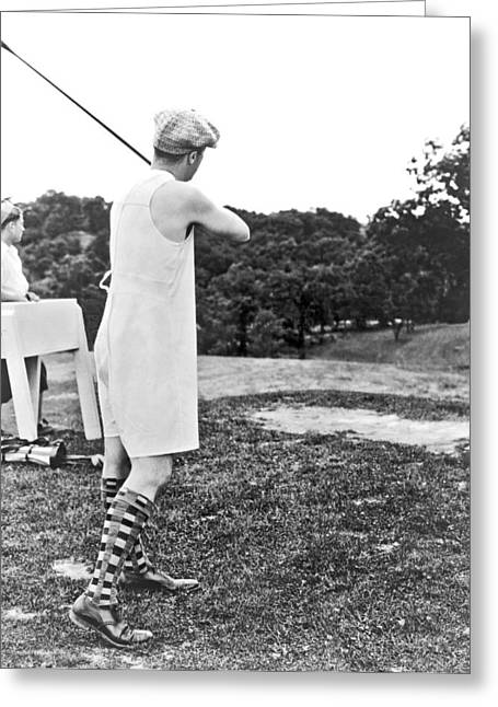 Union Suit Golfer Greeting Card by Underwood Archives