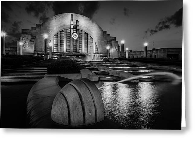 Union Terminal At Night Greeting Card by Keith Allen