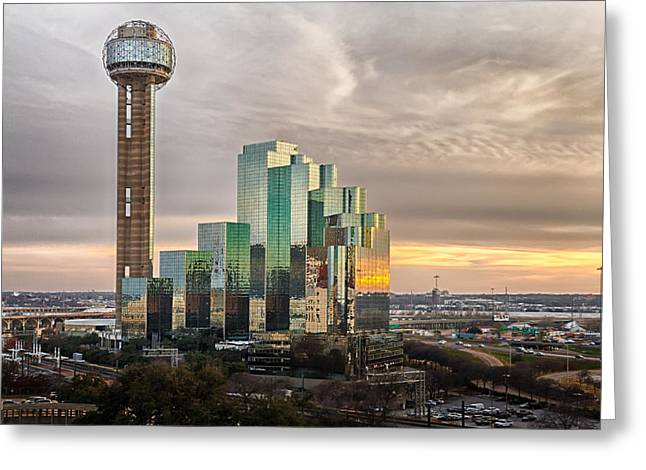 Union Tower Sunset Greeting Card by Niels Nielsen