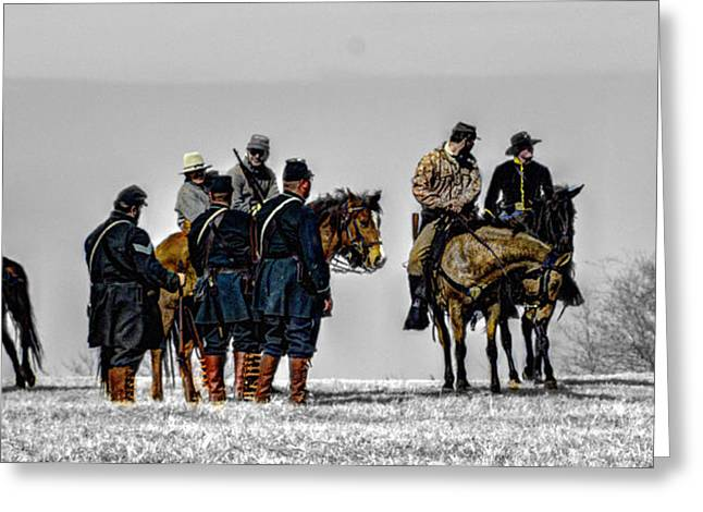 Union Troops Capture Confederate Horse Soldiers Greeting Card by John Straton