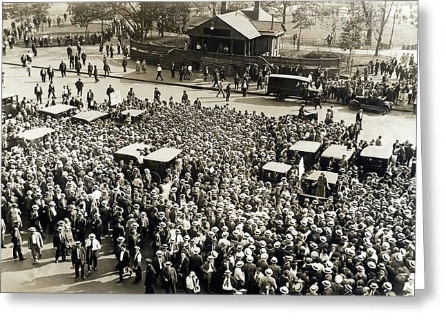 Union Workers In Union Square Greeting Card by Underwood Archives