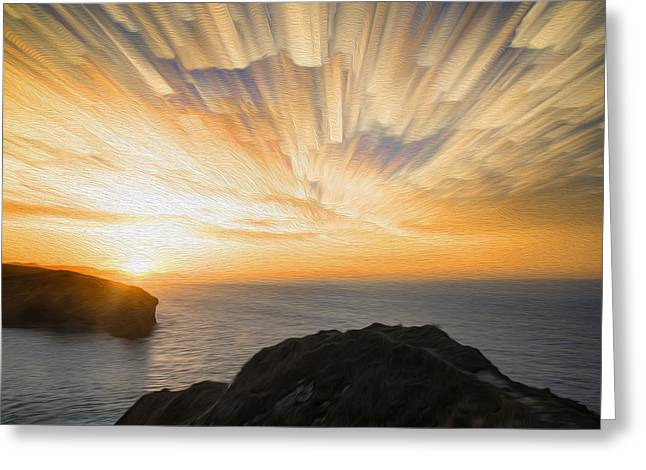 Unique Abstract Landscape Sunset Digital Painting Greeting Card