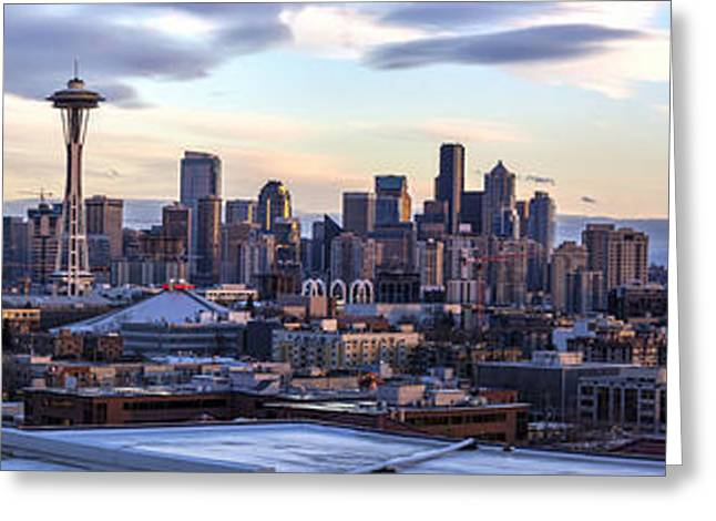 Unique Seattle Evening Skyline Perspective Greeting Card by Mike Reid