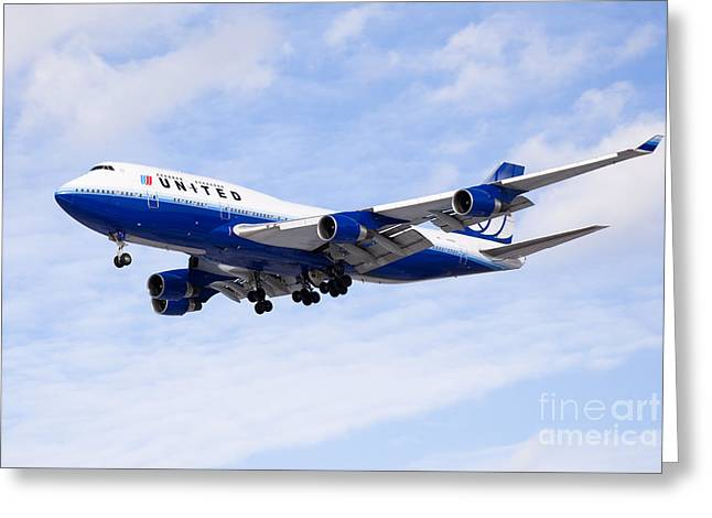 United Airlines Boeing 747 Airplane Flying Greeting Card