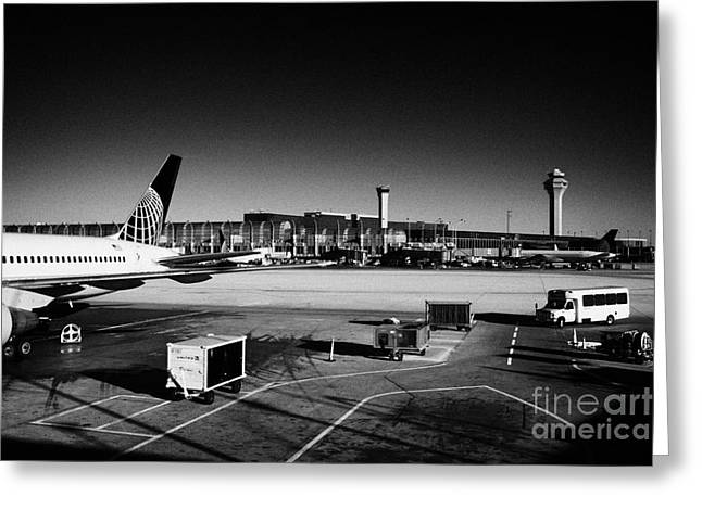 united airlines terminal O'Hare International airport Chicago Illinois USA Greeting Card by Joe Fox