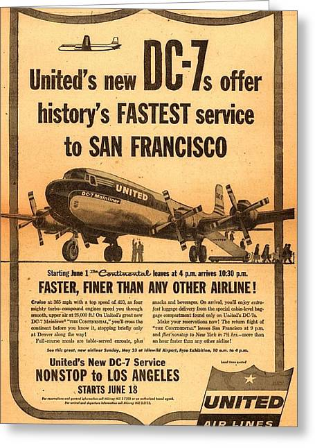 United Dc-7 Contiental Service Greeting Card
