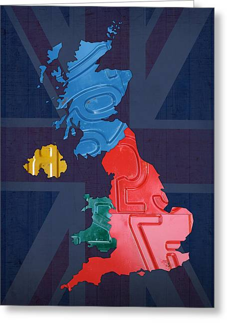 United Kingdom Recycled Vintage License Plate Map Greeting Card by Design Turnpike