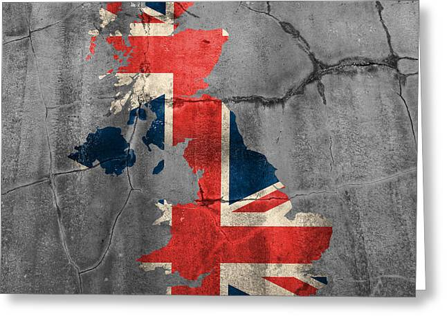 United Kingdom Uk Union Jack Flag Country Outline Painted On Old Cracked Cement Greeting Card by Design Turnpike