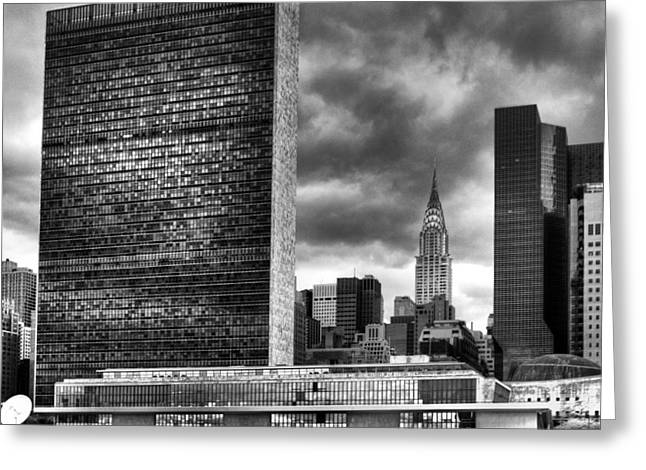Greeting Card featuring the photograph United Nations And Chrysler Building by Dave Beckerman