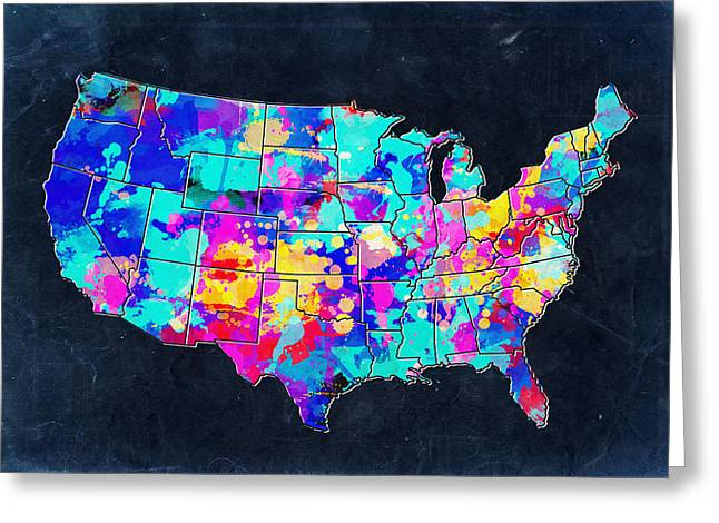 United States Colorful Map 2 Greeting Card