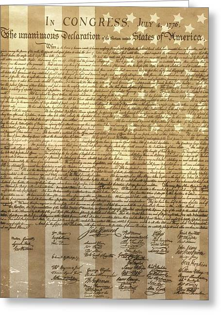 United States Declaration Of Independence Greeting Card by Dan Sproul