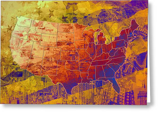 United States Flag Map Vintage 2 Greeting Card