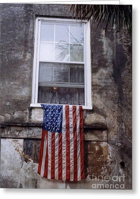 United States Flag - Savannah Georgia Window  Greeting Card by Kathy Fornal