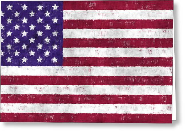 United States Flag Greeting Card by World Art Prints And Designs