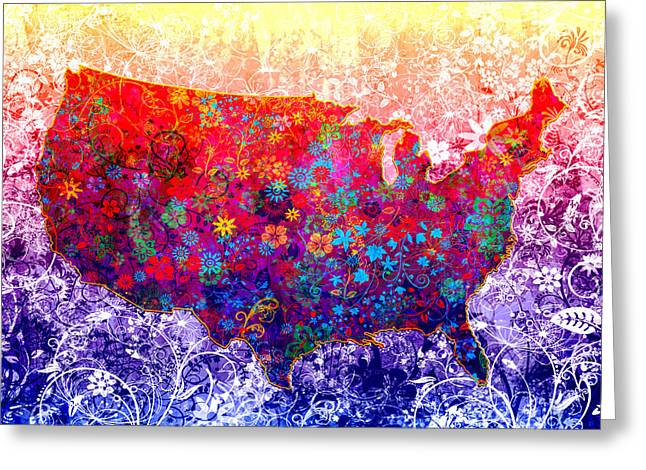 United States Floral Map 2 Greeting Card by Bekim Art