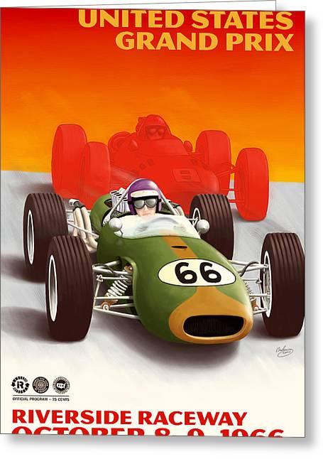 United States Grand Prix California 1966 Greeting Card by Georgia Fowler