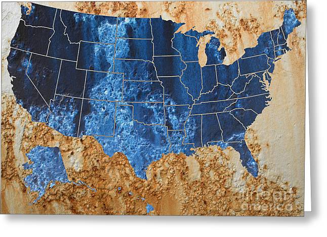 United States In Navy Blue And Rust Greeting Card