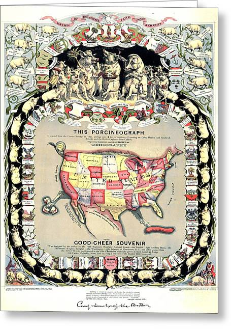 United States Map 1876 Greeting Card by Padre Art