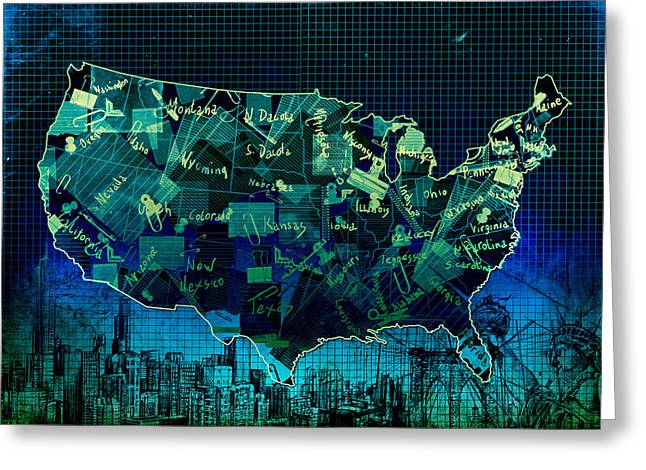 United States Map Collage 6 Greeting Card