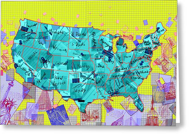 United States Map Collage Greeting Card