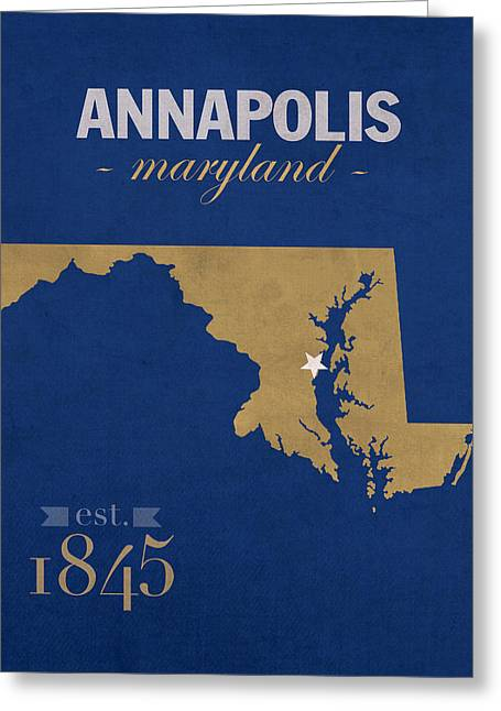 United States Naval Academy Navy Midshipmen Annapolis College Town State Map Poster Series No 070 Greeting Card by Design Turnpike